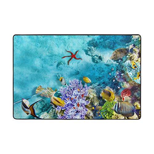 My Little Nest Wonderful Sea Corals Starfish and Tropical Fish Modern Area Rug 2' x 3' For Bedroom Dining Room Living Room Entryways Carpet Indoor Outdoor Home Decor Non Slip Soft Mat (Rug Tropical Coral)