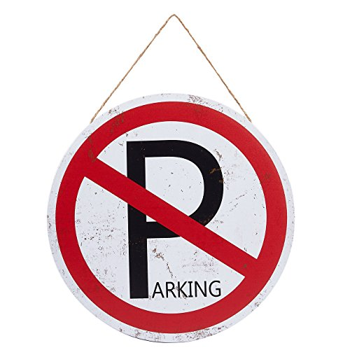 Juvale No Parking Sign - Driveway Sign, Round Wall Hanging, 11.8 inches in Diameter