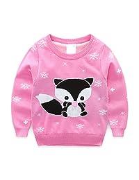 Baby Kids Girls Toddler Round Neck Knitted Cartoon Fox Pullover Sweater