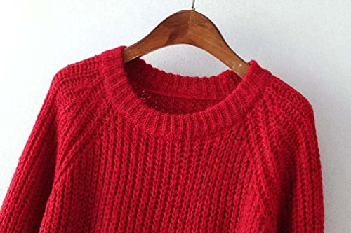 Pullover Ladies Sleeve Coat Tops Fall Women Sweaters Oversized Women's Cozy Jacket Sweater Jumper Winter Red Long Red Cable Knit Sweater Cotton nY0WnZwT