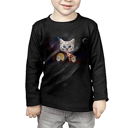 ZheuO Boys & Girls Toddler Space Cat With Taco and Pizza Soft and Cozy 100% Cotton Tee Unisex Black 2 Toddler