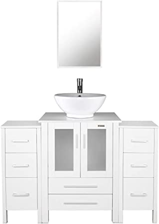 Amazon Com 48 Inch Bathroom Vanity Porcelain Vessel Sink Combo 2 Side Cabinets Removable Free Stand Vanity 1 5 Gpm Faucet Bathroom Vanity Top With Porcelain White Sink With Overflow Furniture Decor