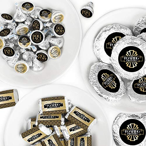 Roaring 20's - Mini Candy Bar Wrappers, Round Candy Stickers and Circle Stickers - 1920s Art Deco Jazz Party Candy Favor Sticker Kit - 304 Pieces]()
