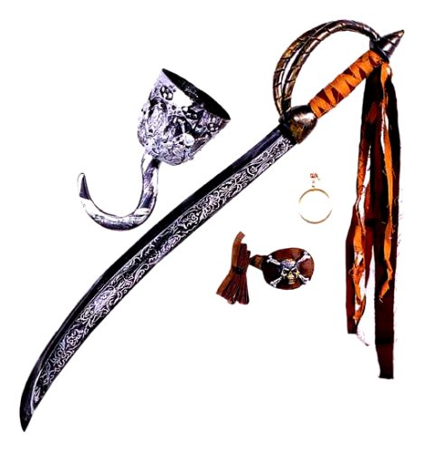 Pirates Of The Caribbean Sword (FunWorld  Caribbean Pirate Accessory Kit, Silver, One Size)