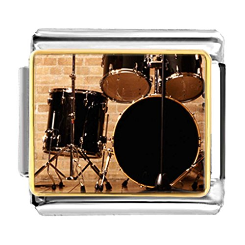 Drum Italian Charm (GiftJewelryShop Gold Plated Rock And Roll Drums Bracelet Link Photo Italian Charm)