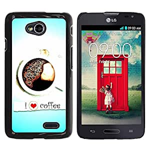 LECELL -- Funda protectora / Cubierta / Piel For LG Optimus L70 / LS620 / D325 / MS323 -- Design I Love Coffee --