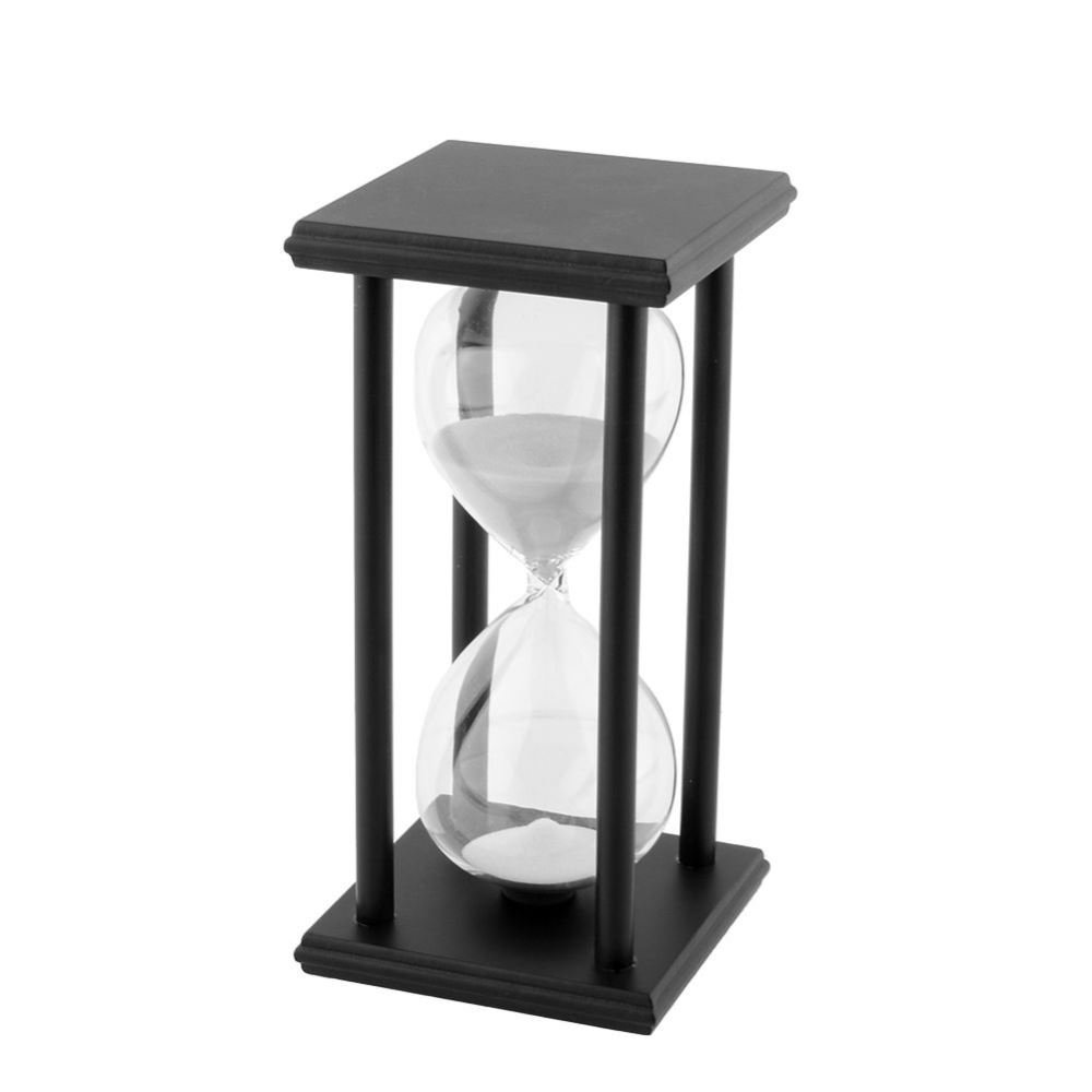 TOOGOO(R) 60Min Black Wooden White Sand Sandglass Hourglass Clock Timer Home Decor