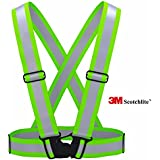 3M Scotchlite Reflective Vest for Outside Sports such as Running, Cycling, Walking and Hiking - Elastic, Lightweight, Adjustable and High Visibility of up to 1000 feet