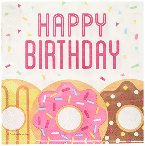 Creative Converting 322295 Donut Happy Birthday Lunch Napkins Party Supplies, 5