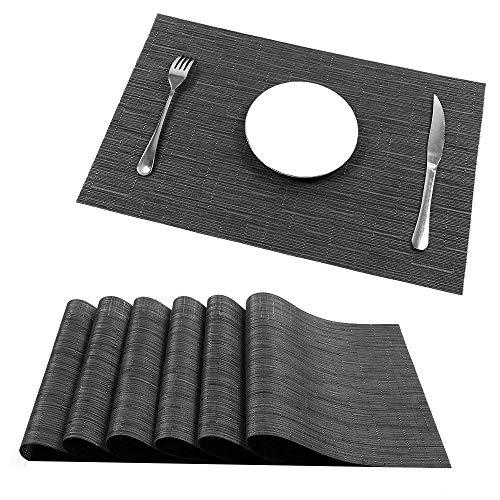 UArtlines Placemats, Heat-Resistant Placemats Stain Resistant Anti-Skid Washable PVC Table Mats Woven Vinyl Placemats, Set of 6 (6pcs placemats, B Black)