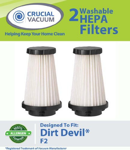 2 Pack Dirt Devil F2 Replacement HEPA Filter; Compare to Dirt Devil Part #3SFA11500X, 3-F5A115-00X, Appliances for Home