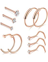 Nose Ring Hoop, D.Bella 22G 8mm Nose Rings Studs Piercings Hoop Jewelry Stainless Steel 1.5mm 2mm 2.5mm