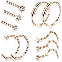 Nose Ring Hoop, D.Bella 22G 8mm Nose Rings Studs Piercings Hoop Jewelry Stainless Steel 1.5mm 2mm 2.5mm