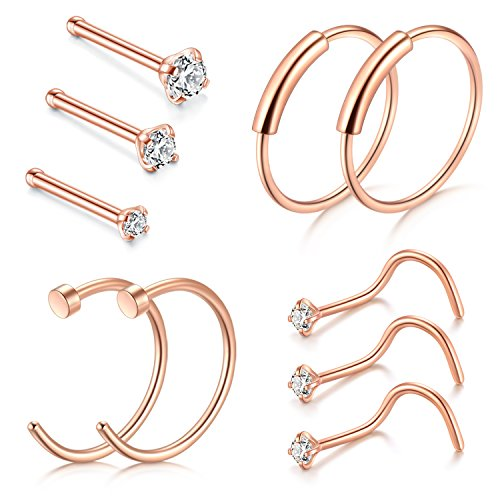 D.Bella Nose Rings, 22G Nose Pin Studs 1.5mm 2mm 2.5mm Fake Nose Ring Ear Lip Hoop Jewelry, Rose Gold (Gold Ring 22 Nose)