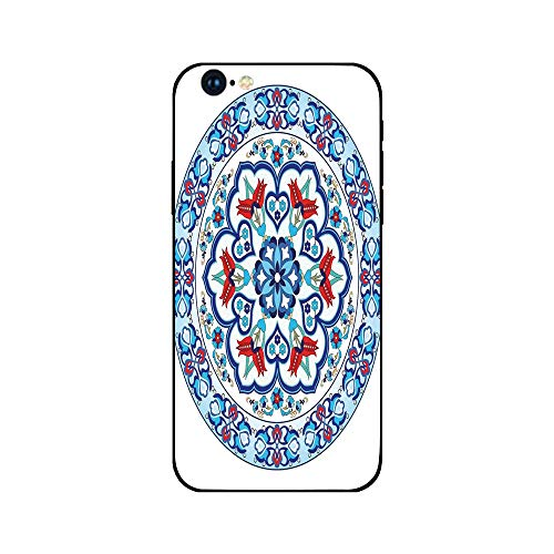 (Phone Case Compatible with iphone6 iphone6s mobile phone covers phone shell Brandnew Tempered Glass Backplane,Antique Decor,Ottoman Turkish Style Art with Tulip Period Ceramic Floral Art Elements)