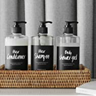 Bathroom Refillable Empty Dispenser PET Plastic Bottles,Shampoo,Conditioner,Body wash,Liquid Soaps 3 Packs 17.5 oz with 3 Hand Lettering Series Waterproof Labels
