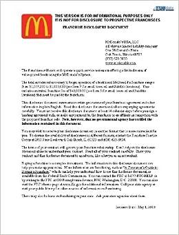 2010 Mcdonald S Franchise Disclosure Document Frandata Amazon Com Books