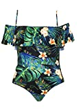 SAY Styles All Yours Womens Plus Size Flounce Tropical Print One-Piece Swimsuit (Tropical Green, XL)