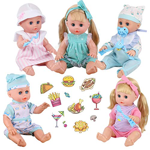 Young Buds for 11-12-13 Inch Alive American Doll Baby Doll Clothes Set of 5 Dress Costumes Gown Outfits Feeding Set with Pacifier Bib