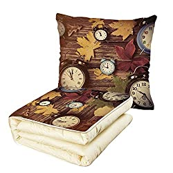 Quilt Dual-Use Pillow Fall Decor Different Colored Dry Maple Leaves Various Alarm Clocks on Wooden Planks Print Decorative Multifunctional Air-Conditioning Quilt Multicolor