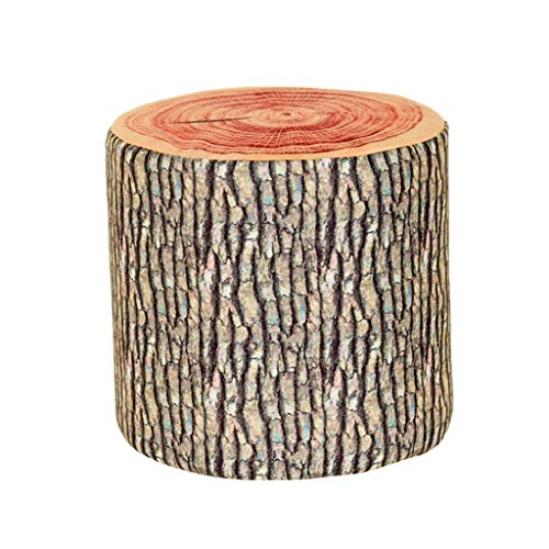 Wooden Stump Shaped Ottoman,Natural Woods Upholstered Footstool Footrest Pouffe Creative Log Soft Chair Children Stool with Removable Flannelette Cover,282828cm (Ottoman Natural Upholstered Wood)