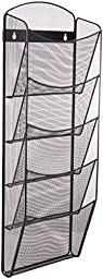 Safco Products 5578BL Onyx Mesh Magazine Wall Rack, 5 Pocket, Black
