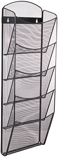 Safco Products Onyx 5 Pocket Magazine Rack 5578BL, Black Powder Coat Finish, Durable Commercial-Steel (Office Magazine Rack)