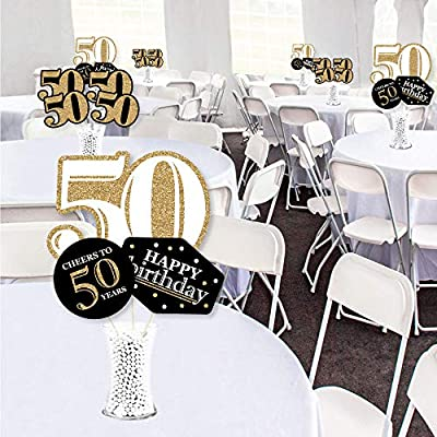 Big Dot of Happiness Adult 50th Birthday - Gold - Birthday Party Centerpiece Sticks - Showstopper Table Toppers - 35 Pieces: Toys & Games
