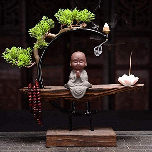 絶妙な線香立て中国の禅風化木材装飾、逆流香バーナー、若い僧侶、沈香白檀香バーナー-7,4(色:4)