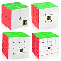 D-FantiX Speed Cube Bundle, Moyu Mofang Jiaoshi MF2S 2x2 MF3S 3x3 MF4S 4x4 MF5S 5x5 Stickerless Magic Cube Set with Gift Box