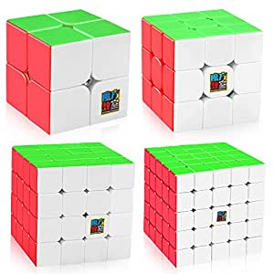 D-FantiX Speed Cube Bundle, Moyu Mofang Jiaoshi MF2S 2x2 MF3S 3x3 MF4S 4x4 MF5S 5x5 Stickerless Magic Cube Set with Gift Box