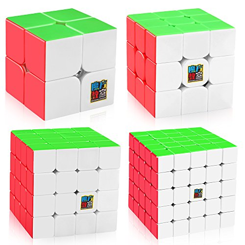 Smoothers Gift Set - D-FantiX Speed Cube Bundle, Moyu Mofang Jiaoshi MF2S 2x2 MF3S 3x3 MF4S 4x4 MF5S 5x5 Stickerless Magic Cube Set with Gift Box