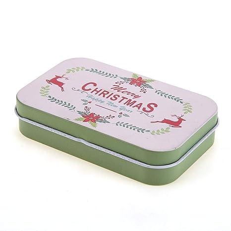 Starnearby - Caja de lata de Navidad con tapa, rectangular, caja para tarros de