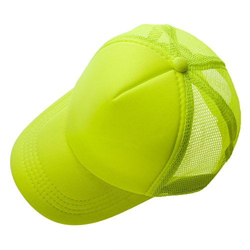 Opromo Summer Mesh Trucker Hat with Adjustable Snapback Strap Neon Baseball Cap-Neon Pink/White-24piece by Opromo (Image #3)