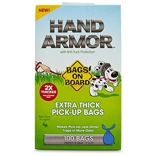 Bags on Board Hand Armor Extra Thick Dog Waste Pick-Up Bags, 100 count