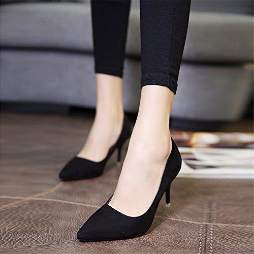 HXVU56546 Durante La Primavera Y El Otoño, Los Tacones Altos Zapatos De Mujer Solo Zapatos Zapatos De Raso ,37, Negro