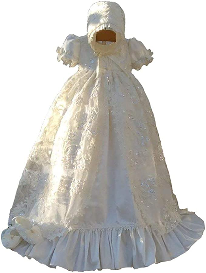 Details about  /Baby Girl Christening Dress Girls Satin Lace Baptism Dress Satin Baby Girls