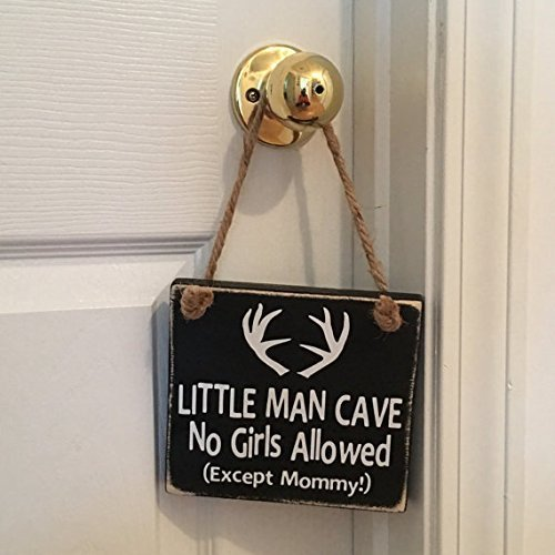 Black Little Man Cave No Girls Allowed /™ Antler Door Sign