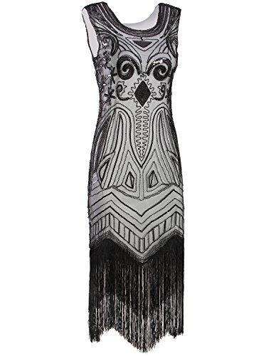 Vijiv Long Prom 1920 s Vintage Gatsby Bead Sequin Art Nouveau Deco Flapper  Dress 425912d3175c
