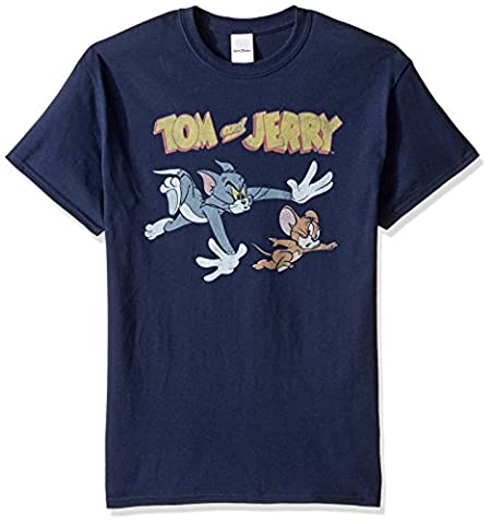 Tom and Jerry Men's Chase T-Shirt, Navy, 2XL (Tom And Jerry Tee Shirts)
