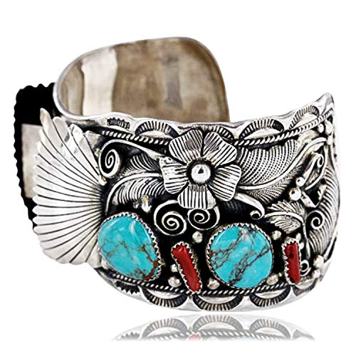 $2770Tag Collectable Certified Silver Navajo Coral Turquoise Signed Watch Cuff Bracelet 390822858662 Made by Loma Siiva