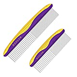 Dog Comb 2 pack for Removing Tangles and Knots-Cat Combs for Removing Matted Fur-Grooming Tool with Smooth Rounded Stainless Steel Teeth Non-Slip Grip Handle-Ideal Pet Hair Comb for Long Short Hair Ho