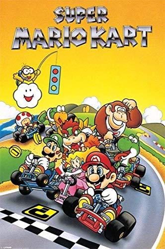 Pyramid America Super Mario Kart Super Nintendo SNES Go Kart Racing Video Game Luigi Princess Peach Poster 24x36 inch -