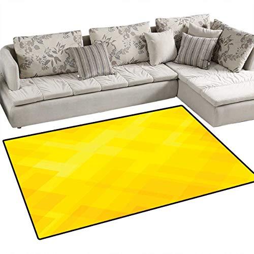 Yellow Girls Bedroom Rug Contemporary Art Inspirations in Yellow Toned Geometrical Rhombus Arrangement Door Mat Indoors Bathroom Mats Non Slip 4'x6' Yellow ()