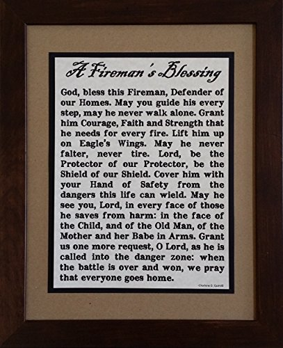 A Fireman's Blessing - Framed Inspirational Prayer - Birthday, Graduation, or Father's Day Gift for -