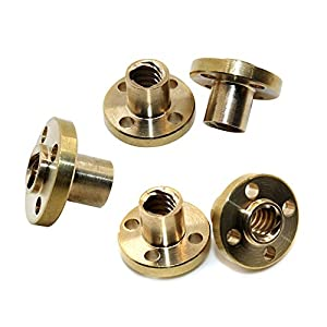 5pcs Brass Screw Nut Flange Trapezoidal For 8mm T8 Lead Threaded Rod CNC Linear Rail 3D Printer Reprap Parts Z Axis from BALITENSEN
