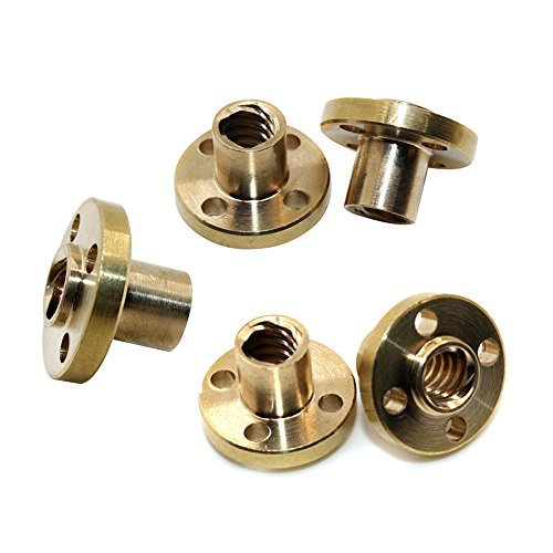 5pcs Brass Screw Nut Flange Trapezoidal For 8mm T8 Lead Threaded Rod CNC Linear Rail 3D Printer Reprap Parts Z Axis