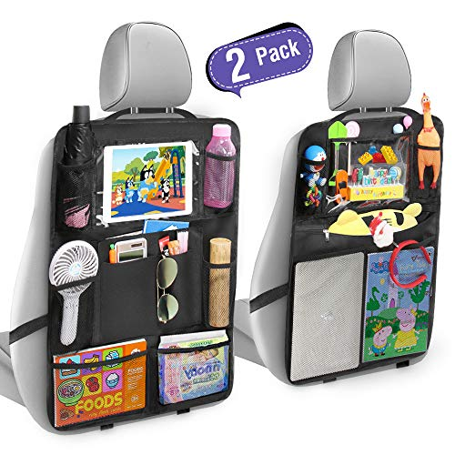 "Tsumbay Car Back Seat Organizer with 16 Storage Pockets Car Seat Back Protectors with Clear Touch Screen 10"" Tablet Holder Waterproof Kick Mat Extra Large Car Seat Back Covers for Kid Travel(2 Pack)"