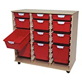Class Act Tower 'Slim Line' Wood Cart 12 Tray Red