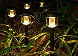 Oak Leaf Solar Pathway Landscape Lights for Outdoor Garden Patio Yard Deck Driveway Lawn and Backyard,4x bright,Warm White(Yellowish),6-Pack